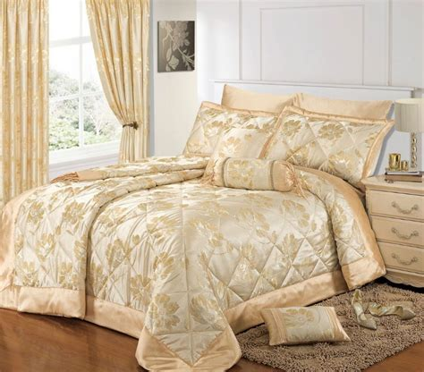 Bath Sets With Shower Curtains cream gold colour stylish floral jacquard luxury