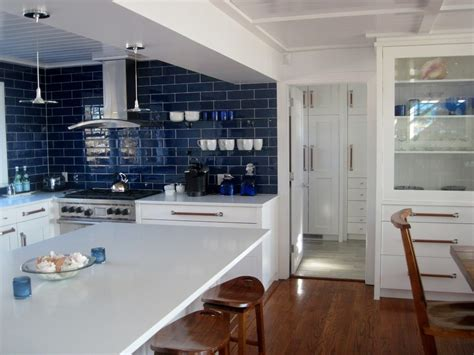 blue tile kitchen backsplash cobalt blue backsplash kitchen contemporary with subway