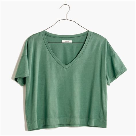 Crop V madewell luster cotton v neck crop in green lyst