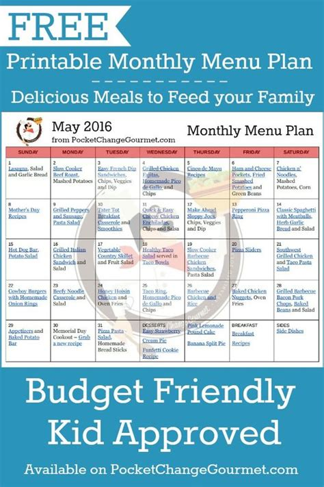 budget dinner menu delicious meals to feed your family in the printable may