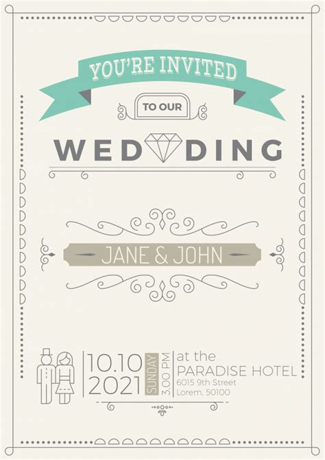 Wedding Invitation Card Lines by Vintage Wedding Invitation Card Template With Flourish