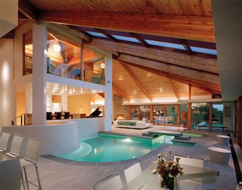 indoor pool of contemporary lookout house home building
