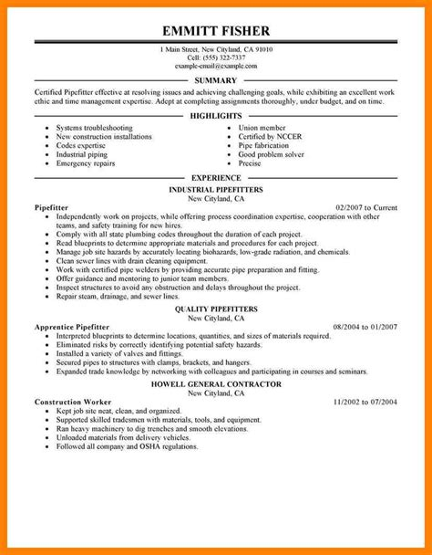 Combo Pipe Welder Sle Resume by Boilermaker Welder Sle Resume Professional Boilermaker Welder Templates To Showcase Your
