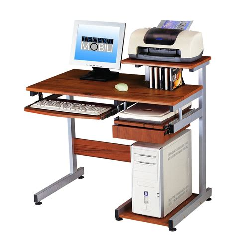 wooden computer desk complete with drawer for keyboard and