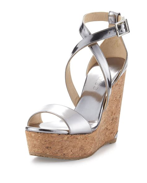 Jimmy Choo Sandal Wedges Jimmy Choo Portia Metallic Crisscross Wedge Sandal In