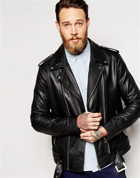 asos leather biker jacket with belt in black in black for