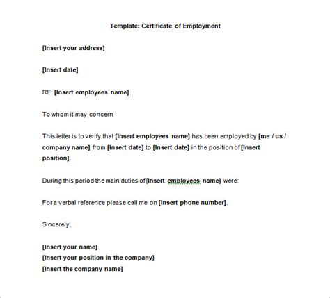 certification letter of address free editable certificate of employment sle with