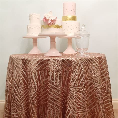 Rose Gold Geometric Sequin Table Linen ? The Sweet Party Shop