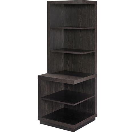 Furniture Corner Shelf by Corner Shelf Bookcase Brown Wood 5 Shelves Book Storage