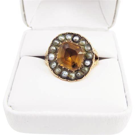 Imperial Chagne Topaz 8 30ct regal unisex 4 45 ct imperial topaz seed pearl 15k ring