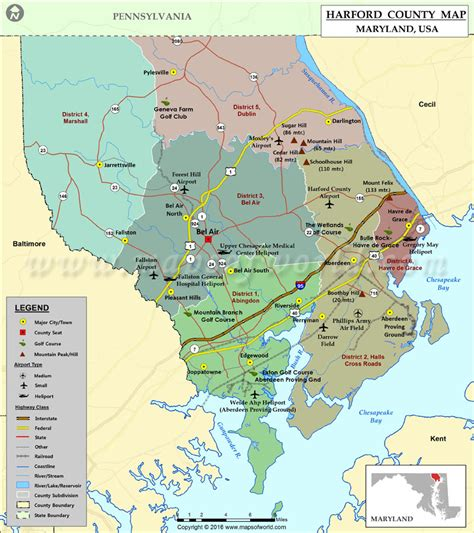 map maryland usa harford county map maryland