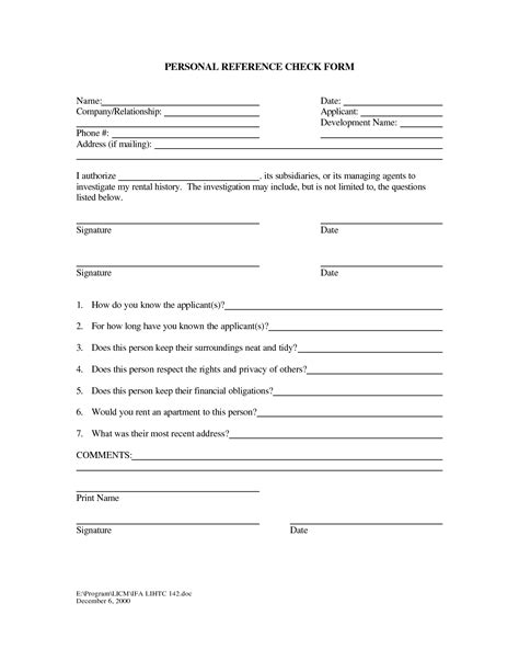 reference form template best photos of personal reference form template