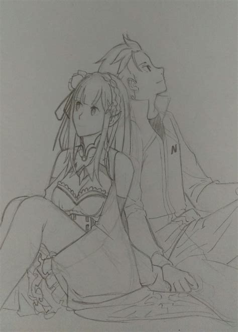 subaru and emilia re zero subaru and emilia by jhonbanhart on deviantart