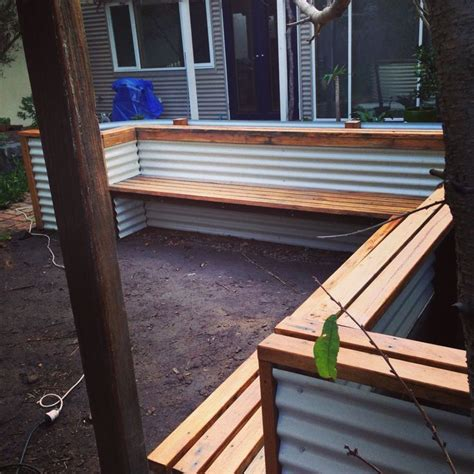 planter bench seat bench box planter seat don t like the corrugated siding