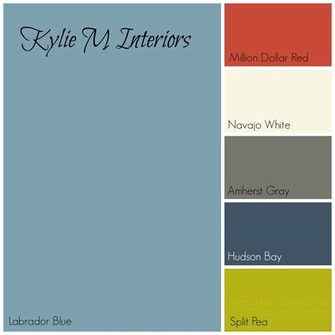 colors that goes with grey labador blue by benjamin moore paint colour palette with