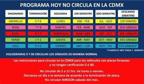calendario del hoy no circula fase 1 calendario hoy no circula cdmx verificaciones en morelos