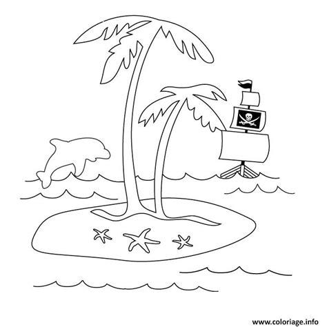dessin bateau rouge coloriage palmier dauphin et bateau jecolorie