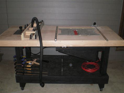 table saw work bench table saw router or work bench by puzzled lumberjocks com woodworking community