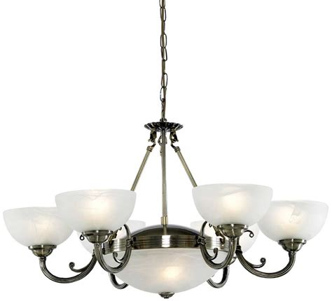 Ceiling Lights And Chandeliers Deco Antique Brass 8 Light Alabaster Glass
