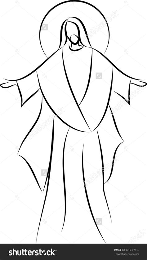 Drawing 7 Lines by Stock Vector Jesus Simple Line Drawing Vector