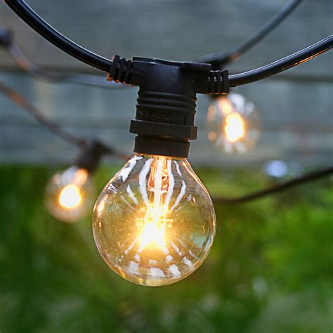 Outdoor Bulb Lights String 25 Socket Commercial Outdoor String Light Kit W G40 Globe Clear Bulbs 29ft Expandable Black