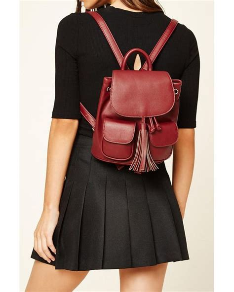 Faux Leather Tasseled Backpack forever 21 tasselled faux leather backpack in brown lyst