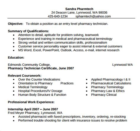 Entry Level Pharmacy Technician Resume by 9 Sle Pharmacy Technician Resumes To Sle