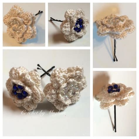 Handmade Hair Pins - wedding hair accessories bobby pins vintage crochet