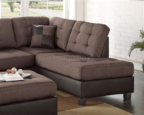 chocolate sectional sofa f6857 sectional sofa 3pc in chocolate fabric by boss