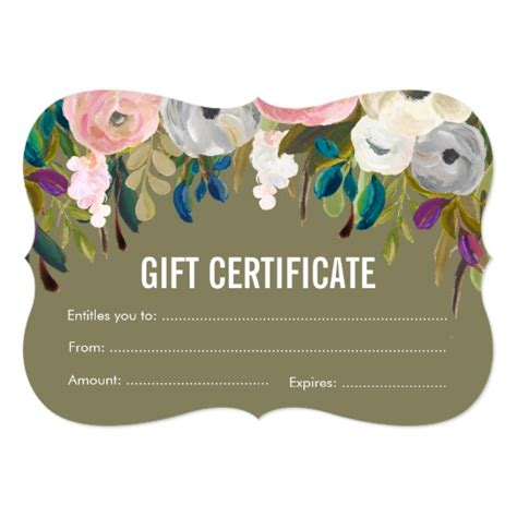 floral gift card template painted floral salon gift certificate template card zazzle