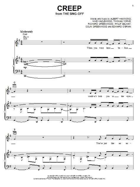 tutorial piano creep creep sheet music by radiohead piano vocal guitar