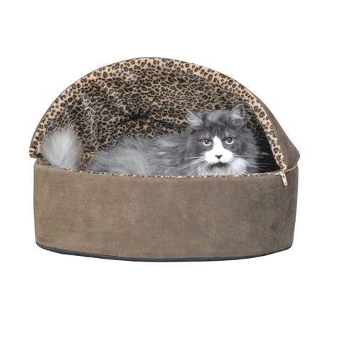 k h thermo kitty heated cat bed k h pet products thermo kitty deluxe large mocha leopard