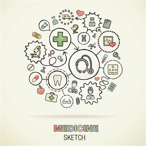 doodle draw icon pack apk medicine draw sketch icons stock vector image 58015877
