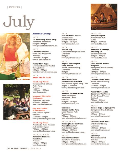 Bay Area Events Calendar July 2014 Sf Bay Area Events Calendar Active Family Magazine