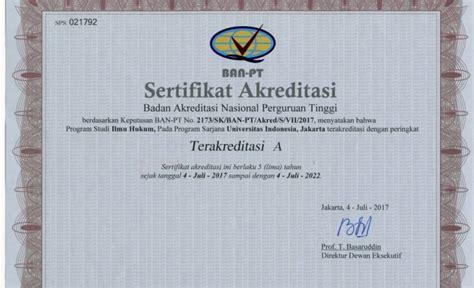 Surat Keterangan Akreditas by Nilai Fhui Pada Akreditasi Ban Pt Meningkat Tajam Fakultas