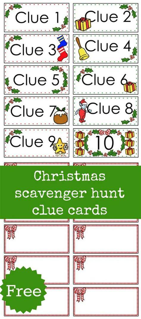 printable christmas scavenger hunt christmas scavenger hunt free printable clue cards for
