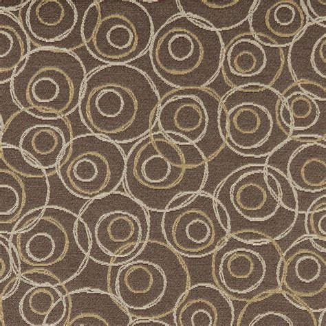 Gold Upholstery Fabric by Brown Gold Silver Overlapping Circles Durable Upholstery
