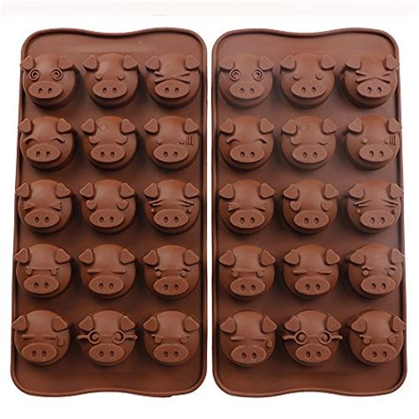 Silicone Baking Pig Expression 4x4 pig mold webake 2 pack silicone chocolate molds 15 cavity molds mold for
