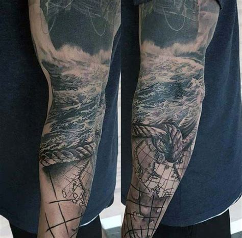 ocean inspired tattoos 40 nautical sleeve tattoos for seafaring ink deisgn