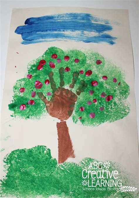 tree crafts for children handprint apple tree craft