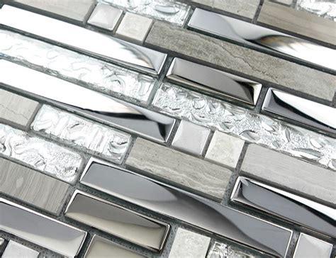 küche backsplash glass subway fliese aliexpress buy gray color metal mixed glass