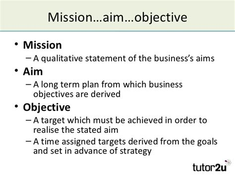 mission statement vs objectives mission aims objectives