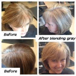 how to blend gray hair with lowlights gray blending grow out mature style hair styles