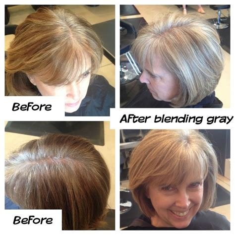 color highlights to blend gray into brown hair gray blending grow out mature style hair styles