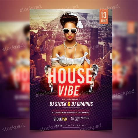free download house vibe psd template flyer flyershitter com