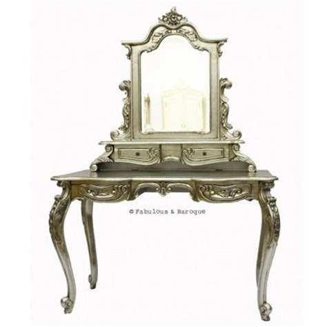 Silver Vanity Table With Mirror And Bench Anais Dressing Table Mirror Silver Leaf