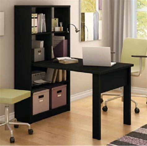 black desk bookcase combo storage craft book shelf