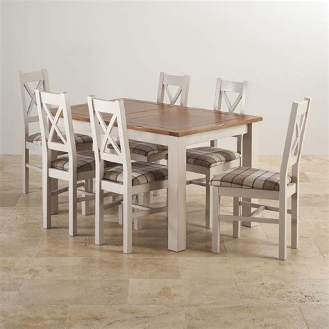 Painted Oak Dining Table And Chairs Rustic Solid Oak And Painted Dining Set With Six Chairs