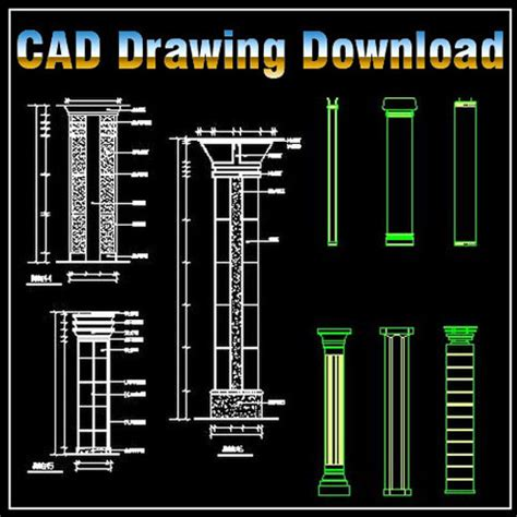 column design drawing cad files dwg files plans and