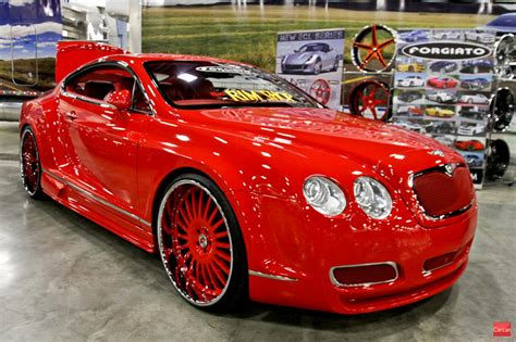 bentley black and red red wide body bentley on forgiato wheels big rims